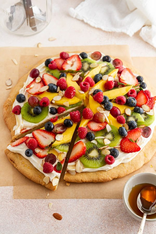 fruit pizza on parchment paper