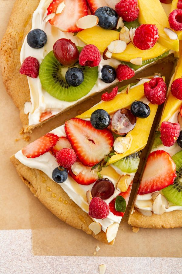 overhead shot of a slice of fruit pizza