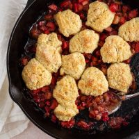 rhubarb cobbler in a cast-iron skillet