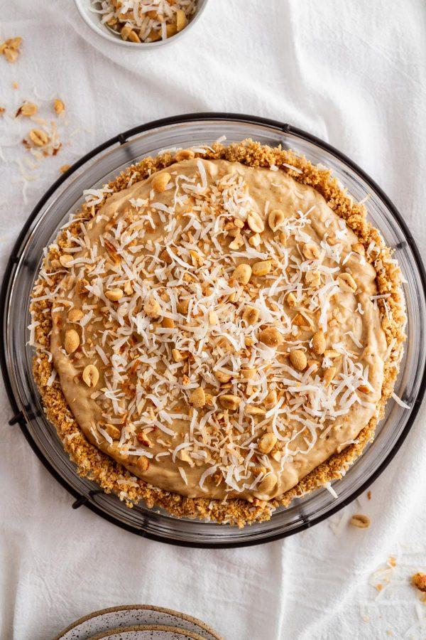 coconut peanut butter pie on a pie plate