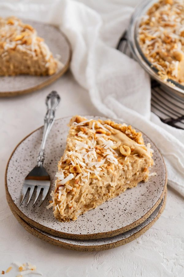 slice of coconut peanut butter pie on a plate