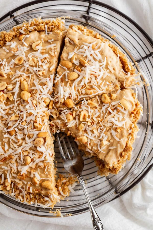 overhead shot of coconut peanut butter pie slices