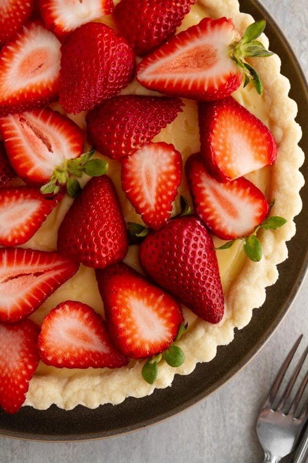 close-up of strawberry custard tart