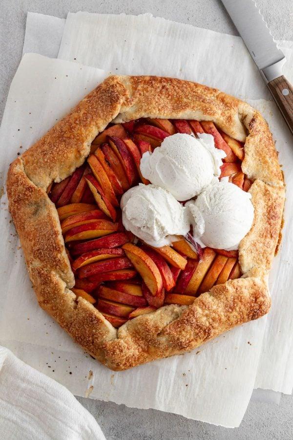 overhead shot of peach galette recipe