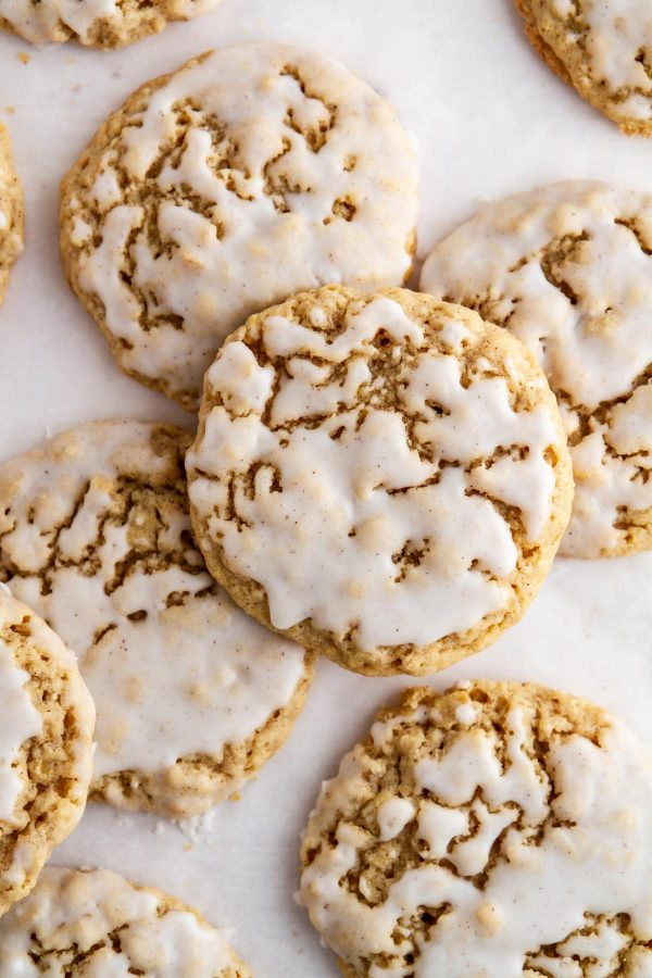 overhead shot of iced pumpkin spice oatmeal cookies