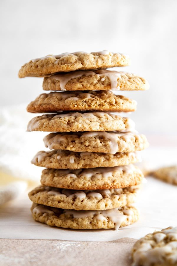 stack of iced pumpkin spice oatmeal cookies