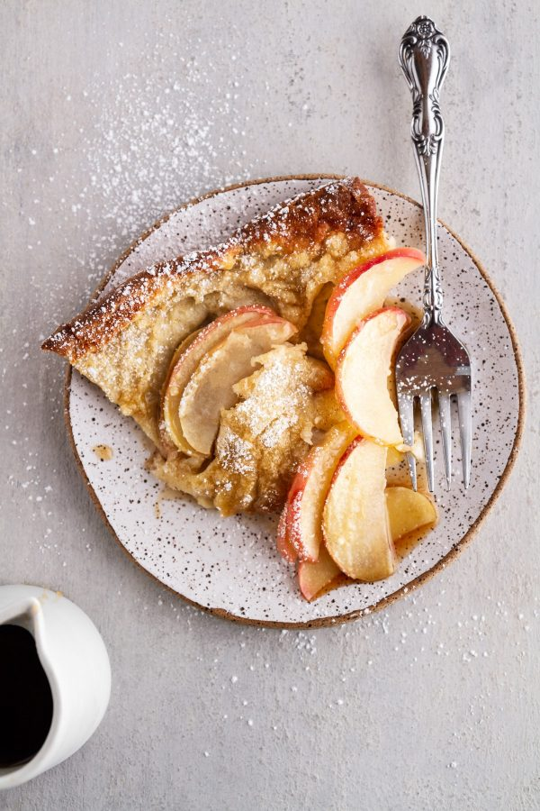 slice of German apple pancake on a plate