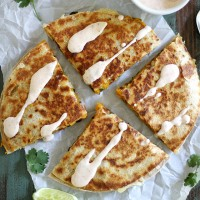 black bean butternut squash quesadillas + chipotle lime crema