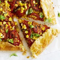 sweet corn and slow roasted tomato galette